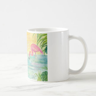 Two Florida Flamingos Watercolor Art Classic White Coffee Mug