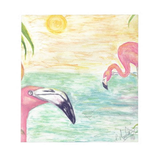Two Florida Flamingos Watercolor Art Notepad