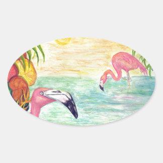 Two Florida Flamingos Watercolor Art Oval Sticker