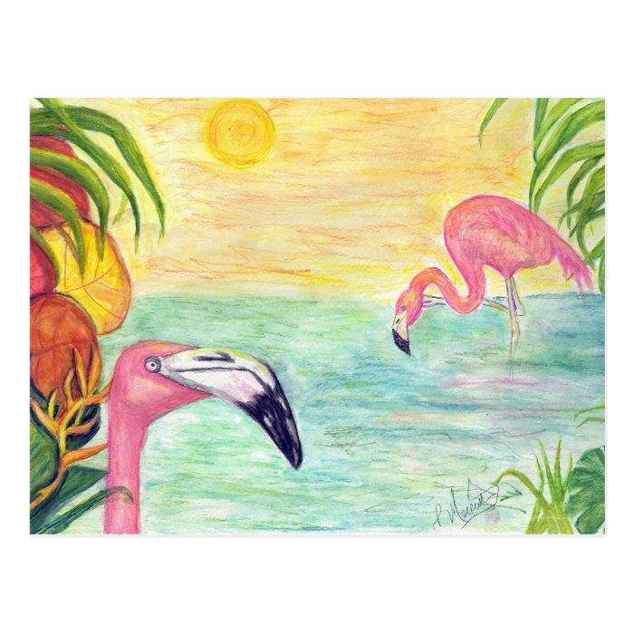 Two Florida Flamingos Watercolor Art Postcard
