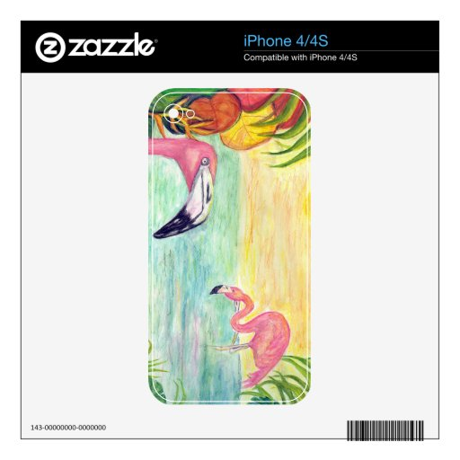 Two Florida Flamingos Watercolor Art Decals For iPhone 4S