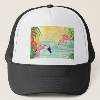 Two Florida Flamingos Watercolor Art Trucker Hat