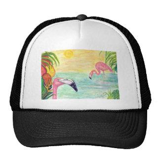 Two Florida Flamingos Watercolor Art Trucker Hat