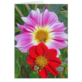 """""""TWO FLOWERS AND TWO BEES"""" NOTECARD"""