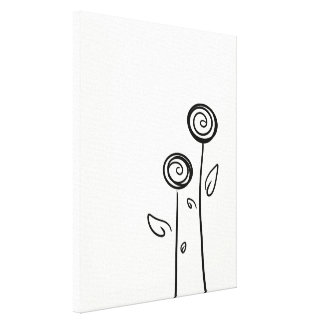 Two Flowers Simple Line Drawing Canvas Print
