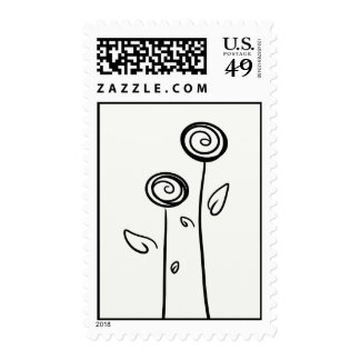 Two Flowers Simple Line Drawing Postage