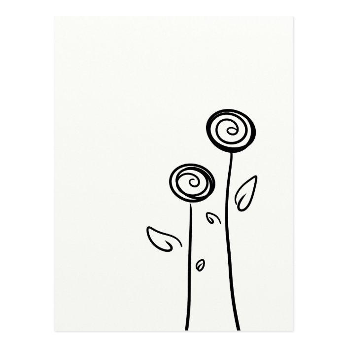 Two Flowers Simple Line Drawing Postcard Zazzle Com