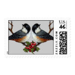 Two Fluffy Chickadees: Snow And Holly: Christmas Postage Stamp