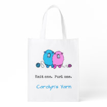 Two fluffy sheep, knit one purl one, personalised grocery bag