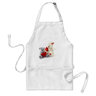 Two Fluffy Teddy Bears On White Background Apron