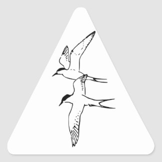 Two Flying Arctic Terns Triangle Sticker