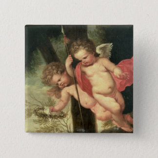 Two Flying Cherubs, holding the Crown of Thorns an Button