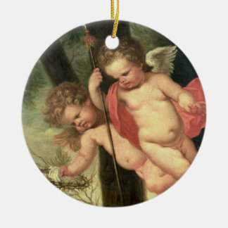 Two Flying Cherubs, holding the Crown of Thorns an Ceramic Ornament