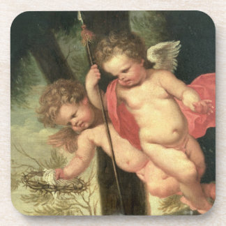 Two Flying Cherubs holding the Crown of Thorns an Beverage Coaster