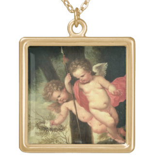 Two Flying Cherubs, holding the Crown of Thorns an Gold Plated Necklace