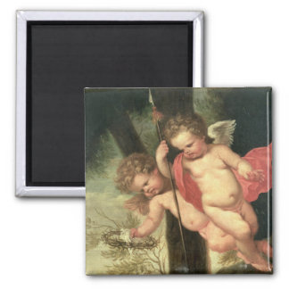 Two Flying Cherubs, holding the Crown of Thorns an Magnet