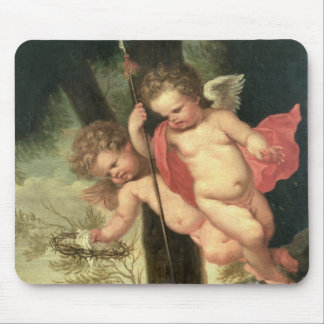 Two Flying Cherubs, holding the Crown of Thorns an Mouse Pad