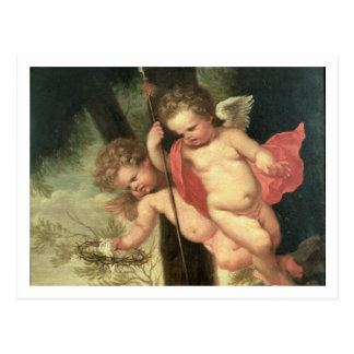 Two Flying Cherubs, holding the Crown of Thorns an Postcard