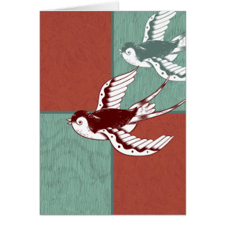 Two Flying Sparrows Birds Red Blue Color Blocks Card