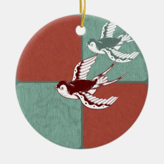 Two Flying Sparrows Birds Red Blue Color Blocks Ceramic Ornament