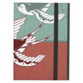 Two Flying Sparrows Birds Red Blue Color Blocks iPad Cover