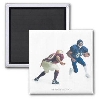 two football players from opposing teams are 2 inch square magnet
