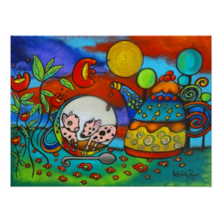 Two For Tea Whimsical Poster
