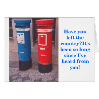 TWO (FOREIGN) MAILBOXES ON STREET CORNER CARD
