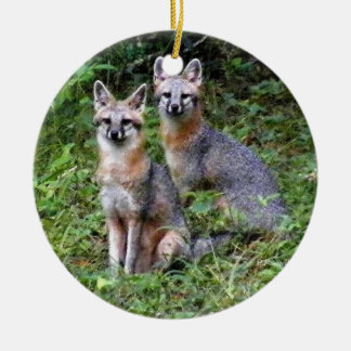 Two Foxes Ceramic Ornament
