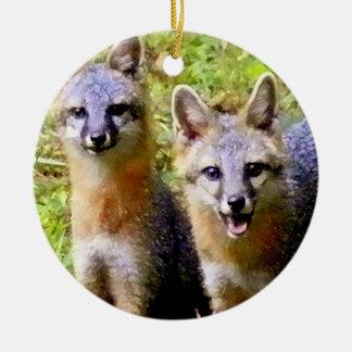 Two Foxes orament Ceramic Ornament