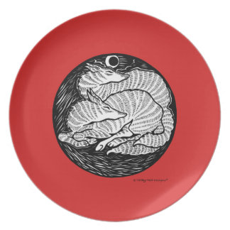 """""""Two Foxes"""" Red Plate"""