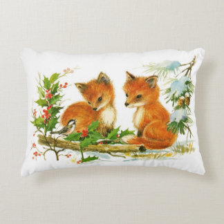 Two Foxes & Two Bunnies Reversible Pillow