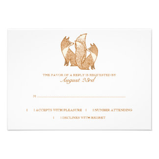 Two Foxes Wedding Invitation rsvp
