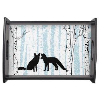 Two Foxes With Birch Blue Sky Serving Tray