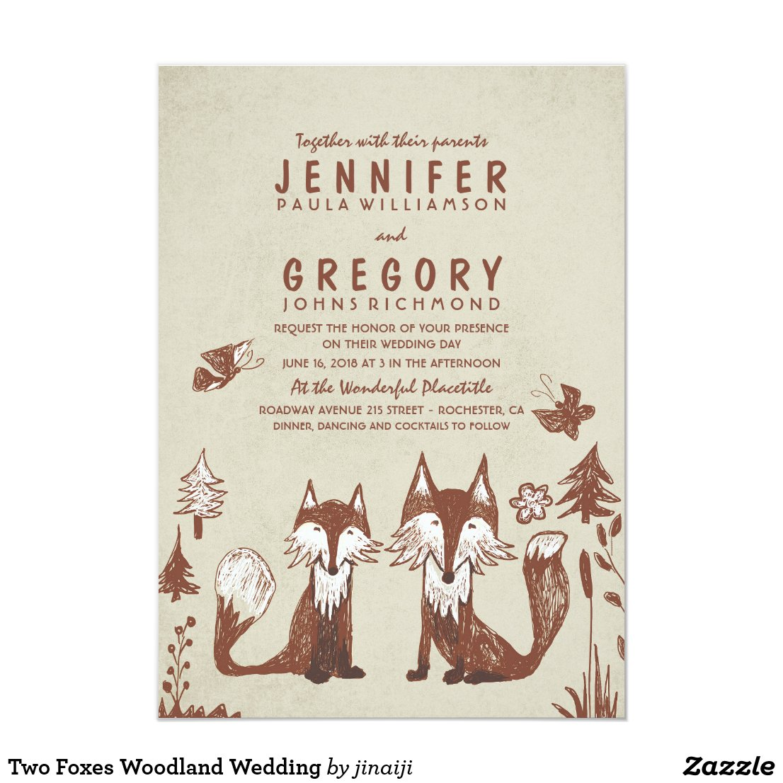 Two Foxes Woodland Wedding Card