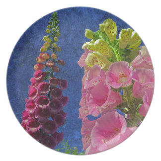 Two Foxglove flowers with textured background Melamine Plate