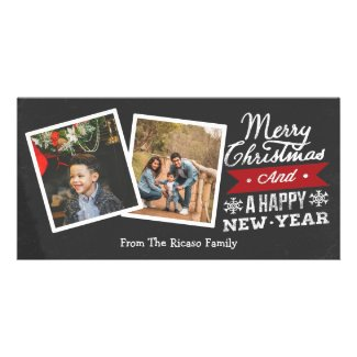 Two Frame Merry Christmas Chalkboard Photo Card