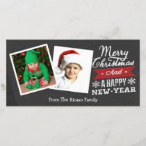 Two Framed Merry Christmas Chalkboard Holiday Card