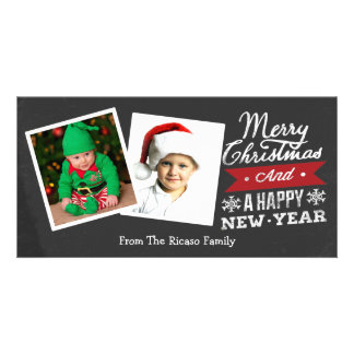 Two Framed Merry Christmas Chalkboard Photo Card