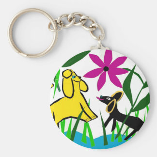 Two friendly dogs basic round button keychain