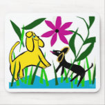 Two friendly dogs mouse pad