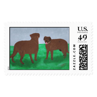 Two friendly mixed breed brown dogs postage stamps