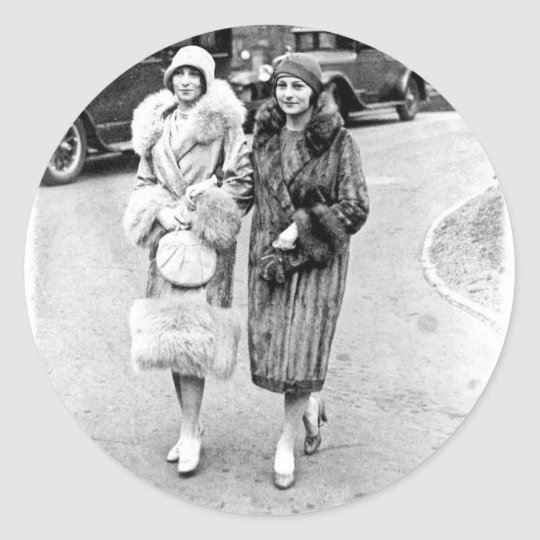 Two Friends, 1920s in furs Classic Round Sticker