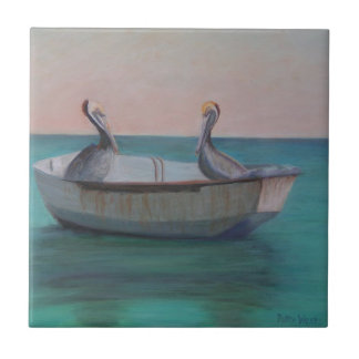 TWO FRIENDS IN A DINGHY Ceramic Tile