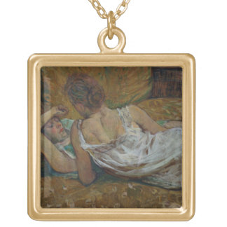 Two friends (pastel) gold plated necklace