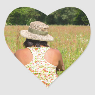 Two friends sitting together in meadow.JPG Heart Sticker