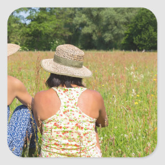 Two friends sitting together in meadow.JPG Square Sticker