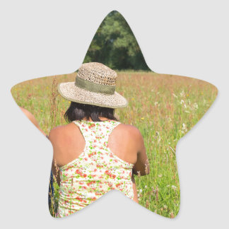 Two friends sitting together in meadow.JPG Star Sticker