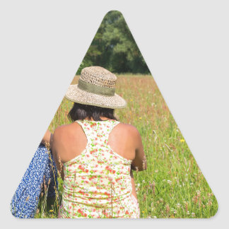 Two friends sitting together in meadow.JPG Triangle Sticker