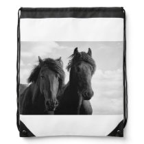 Two Friesian stallions. Drawstring Bag